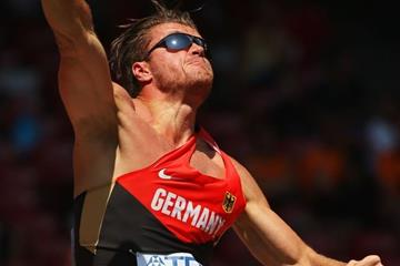 Rico Freimuth in the decathlon shot at the IAAF World Championships, Beijing 2015 (Getty Images)