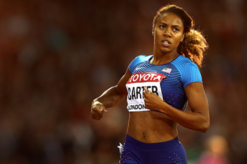 Kori Carter wins the 400m hurdles at the IAAF World Championships London 2017 (Getty Images)