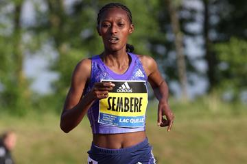 Senbere Teferi runs a world-leading 14:46.61 at the Adidas BOOST Meeting in Herzogenaurach  (Gladys Chai)
