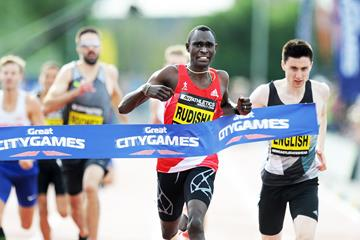 David Rudisha winning the 500m in Newcastle (Mark Shearman)