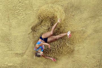 Darya Klishina in the long jump qualifying round at the IAAF World Championships London 2017 (Getty Images)