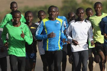 Marathon runner Patrick Makau training in Kenya (Getty Images)