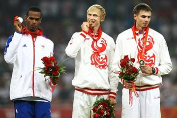The high jump medallists: Germaine Mason, Andrey Silnov and Yaroslav Rybakov (Getty Images)