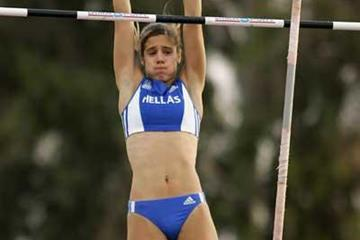 Ekaterini Stefanidi of Greece in action during the Girls' Pole Vault final at the World Youth Championships (Getty Images)