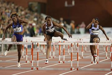 Danielle Williams on the way to her Diamond League title in Brussels (Giancarlo Colombo)