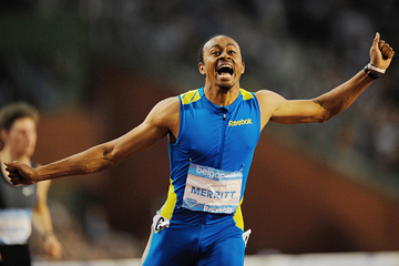 Aries Merritt at the IAAF Diamond League meeting in Brussels (AFP / Getty Images)