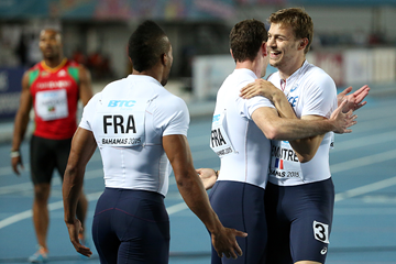 The French 4x100m team at the IAAF/BTC World Relays Bahamas 2015 (Getty Images)