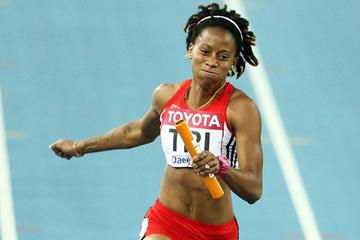 Michelle-Lee Ahye anchors Trinidad and Tobago in the 4x100m (Getty Images)