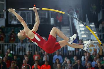 Sam Kendricks in the pole vault at the IAAF World Indoor Championships Portland 2016 (Getty Images)