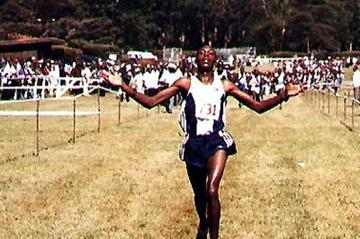 Augustine Choge winning the junior men's 8km race in Nairobi (Okoth)