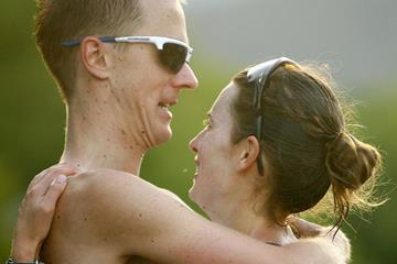 Jared and Claire Tallent after winning their respective 20km races at the 2012 Australian Race Walking Champs (Getty Images)