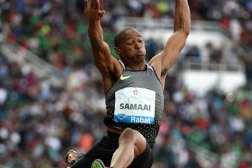 Ruswahl Samaai in the long jump at the IAAF Diamond League meeting in Rabat (Kirby Lee)