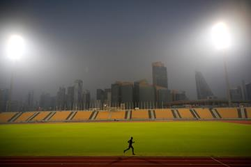 Qatari 400m runner Abdalelah Haroun on the training track in Doha (Getty Images)