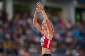 Michaela Hruba wins the high jump at the IAAF World U20 Championships Bydgoszcz 2016 (Getty Images)