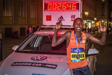 Rhonex Kipruto after winning the Birell Prague Grand Prix (Organisers)