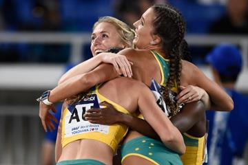The Australian 4x100m team at the IAAF World Relays Yokohama 2019 (Getty Images)
