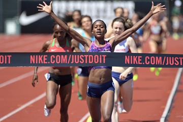 Faith Kipyegon wins the 1500m at the IAAF Diamond League meeting in Eugene (Kirby Lee)
