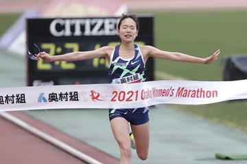 Mao Ichiyama winning the Osaka Women's Marathon (Toshikazu Hirayama/Agence SHOT)