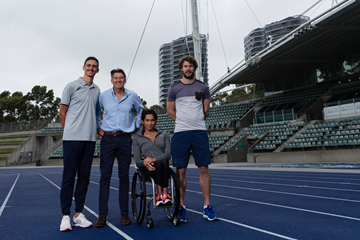 Brandon Starc, IAAF President Sebastian Coe, Madison De Rozario and Nick Hough at the installation of an air quality monitor at Sydney Olympic Park Athletic Centre (Getty Images)