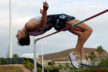 Kristjan Rosenberg in the decathlon high jump at the IAAF Combined Events Challenge meeting in Arona (JJ Vico)