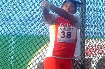Gu Yuan winning the women's Hammer at the Asian Champs (IAAF Correspondent)