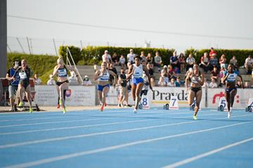 Blessing Okagbare on her way to 100m victory in Samorin (Pavol Uhrin)