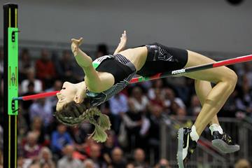Yaroslava Mahuchikh in the high jump at the World Athletics Indoor Tour meeting in Karlsruhe (Jean-Pierre Durand)