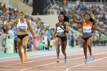 Dafne Schippers, Elaine Thompson and Marie-Josee Ta Lou in action at the Diamond League meeting in Doha (AFP / Getty Images)