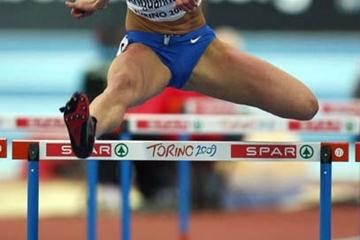 Anna Bogdanova of Russia competes in the 60m Hurdles of the European Indoor Championship's Penathlon (Getty Images)