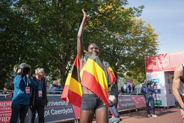 Juliet Chekwel after her victory at the Cardiff Half Marathon (Organisers)