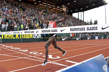 Celliphine Chespol wins the steeplechase at the IAAF Diamond League meeting in Eugene ()