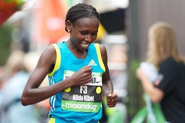 Hilda Kibet after her win in the Dam to Dam 10-miler (organisers)