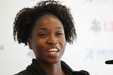 Tianna Bartoletta at the press conference for the IAAF Diamond League meeting in Zurich (Jean-Pierre Durand)