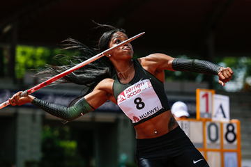 Erica Bougard in the heptathlon javelin at the IAAF Combined Events Challenge meeting in Florence (Organisers)