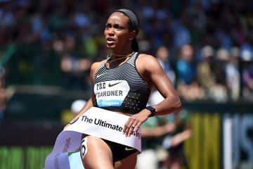 English Gardner at the 2016 IAAF Diamond League meeting in Eugene (Kirby Lee)