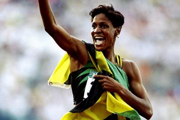 Deon Hemmings after winning the 400m hurdles at the 1996 Olympic Games in Atlanta (Getty Images)