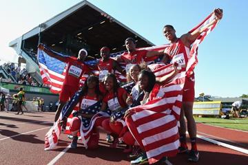 The US men's and women's 4x100m teams at the IAAF World Junior Championships, Oregon 2014 (Getty Images)