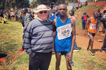Brother Colm O'Connel with Mathew Kimeli in Iten (Kip Evans)