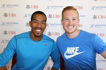 Christian Taylor and Greg Rutherford ahead of the 2015 IAAF Diamond League final in Zurich (Jean-Pierre Durand)