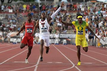 Divine Oduduru sizzles 9.86 to take the NCAA 100m title (Kirby Lee)
