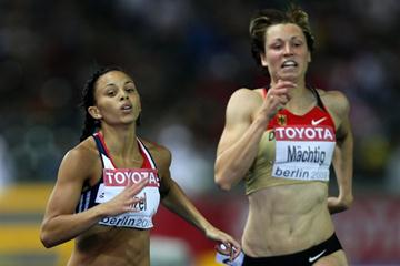 Britain's Louise Hazel and Julia Mächtig of Germany at the end of day one in the women's Heptathlon 200m (Getty Images)