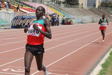 Peter Langat wins the 2000m Steeplechase at 2009 East African Youth Championships (Elshadai Negash)
