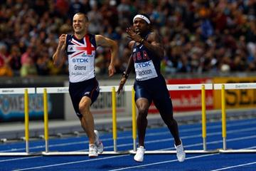 (L-R) David Greene of Great Britain & Northern Ireland and Bershawn Jackson of the USA compete in the men's 400m Hurdles final in Berlin (Getty Images)