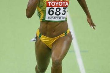 Brigitte Foster of Jamaica in action in the heats of the women's 60m (Getty Images)
