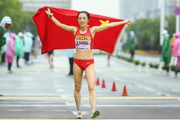 Liang Rui after winning the women's 50km race walk at the IAAF World Race Walking Team Championships Taicang 2018 (Getty Images)