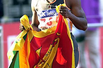 Susanthika Jayasinghe after winning the Asian Games 100m (Gray Mortimore)