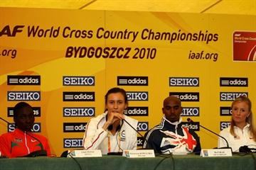 From left to right Linet Masai, Katarzyna Kowalska, Mo Farah and Shalane Flanagan at the IAAF Press Conference in Bydgoszcz (Getty Images)