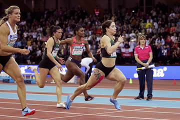 Ewa Swoboda wins the 60m at the IAAF World Indoor Tour meeting in Madrid (Jean-Pierre Durand)