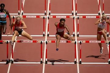 Cindy Roleder and Sharika Nelvis in the 100m hurdles heats at the IAAF World Championships, Beijing 2015 (Getty Images)
