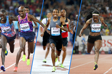 Mo Farah, Mohammed Aman and Elaine Thompson in action at the IAAF Diamond League meeting in Zurich (Gladys Chai von der Laage / Jean-Pierre Durand)